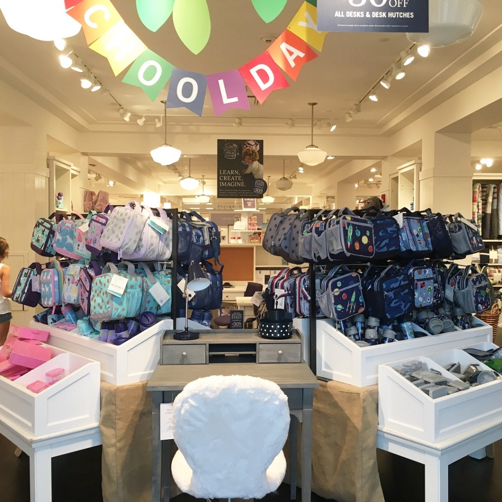 Back to school shopping at Pottery Barn Kids Princeton